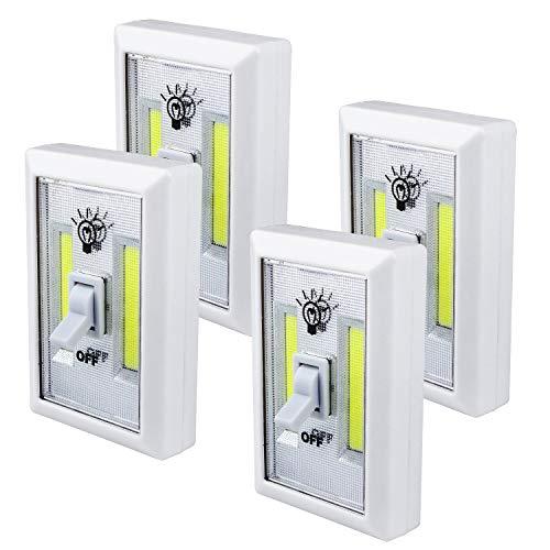Nachtlicht - Beinhome SchrankLicht COB LED Wireless,mit 200 Lumen,Batteriebetriebenes Geführtes Nachtlicht für Kabinett, Regal, Wandschrank,Küche[4 Stück] -