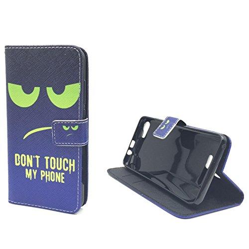 Roi Boutique Housse pour Apple iPhone se Flip Cover Case Étui de protection Motif Wallet Don't touch my Phone Blau / Grün