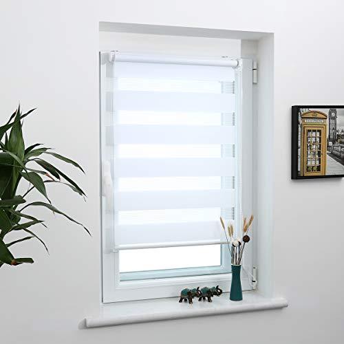 Grandekor Klemmfix Doppelrollo Duo Rollo ohne Bohren Weiß 80x220cm (BxH) Fensterrollo Klemmfix Rollo lichtdurchlässig und verdunkelnd Sonnenschutz für Fester und Türen
