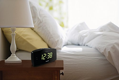 Philips AJ3400 Radiowecker mit großem Display (Digital UKW, 2 Weckzeiten, Sleep-Timer), schwarz - 3