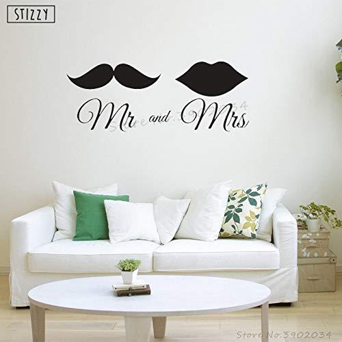 yiyiyaya Wandtattoo Hochzeitsdekoration Herr Frau Liebe Ehe Vinyl Wandaufkleber Lippen Bart Muster Schlafzimmer Paar Wohnkultur 57 * 21 cm