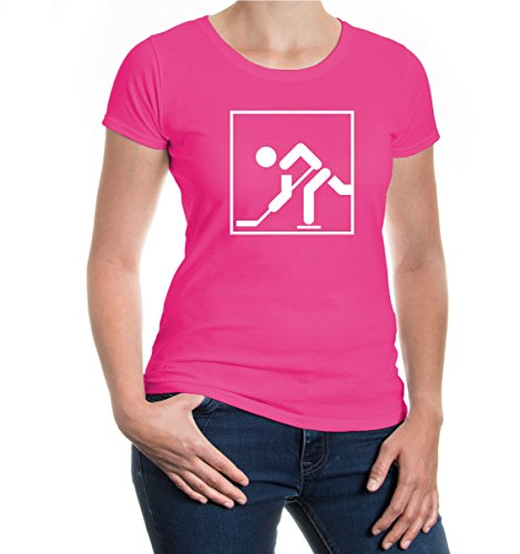 buXsbaum® Girlie T-Shirt Eishockey-Piktogramm Fuchsia-White