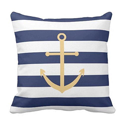 Euro Kissen-abdeckungen (zhiqing Navy Blau und Gelb Anker Dekorative Quadratisch Überwurf Kissen Bezüge 26 * 26#Color 1)