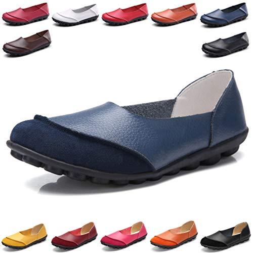 Hishoes Damen Mokassin Bootsschuhe Leder Loafers Fahren Flache Schuhe Halbschuhe Slippers Erbsenschuhe, 39.5 EU=Etikettengröße 40