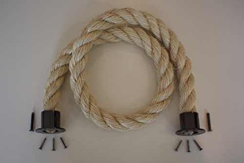 Sconosciuto 24mm barriera Corda Morbida Poly Canapa decking Rope Raccordo fine Gun Metal Cups 2MTR