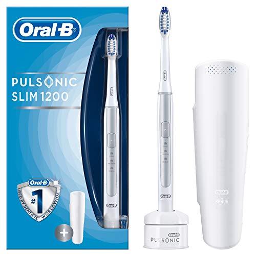 Oral-B Pulsonic Slim 1200 Elektrische Schallzahnbürste, mit Timer, 1 Aufsteckbürste und Reise-Etui, silber - Braun 7000 Oral-b