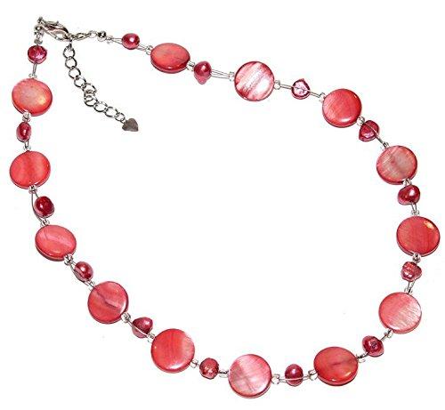 CHICNET Damen Kette rot orange Perlenkette Perlen Perlmutt Scheiben 42-48 cm nickelfrei Karabiner