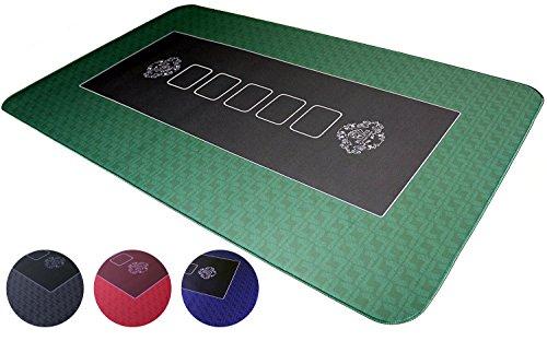 Profi Pokermatte grün in 100 x 60cm von Bullets Playing Cards für den eigenen Pokertisch - Deluxe Pokertuch – Pokerteppich – Pokertischauflage – ideal als Geschenk Test