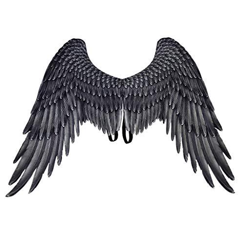 Engelsflügel Damen Herren Federflügel Engel Fee Flügel Piebo Angel Feather Wings Gothic Karneval Fasching Kostüm Halloween Weihnachten Karneval Party Cosplay Bühnenzubehör (One Size, Schwarz)