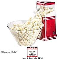 Rosenstein & Söhne Popcornmaschine Heißluft: XL-Heißluft-Popcorn-Maschine für bis zu 100 g Mais, 1.200 Watt (Heißluft Popcorn Maker)