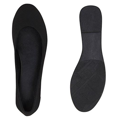 Damen Ballerinas Schuhe Halbschuh flache Schuhe Slipper Schwarz Total