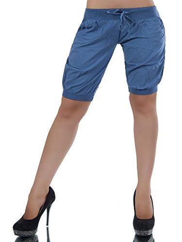 L294 Damen Chino Hose Stoffhose Sommerhose Pumphose Hosen Ballonhose Bermuda Blau