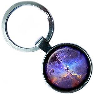 NASA Photograph Nebula Swirls Nebel Foto Silver Keychain Silber Schlüsselanhänger