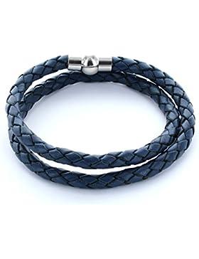 AREA17® Lederarmband blau mit Magnetverschluss in Kugelform 2-fach gewickelt - Maßanfertigung