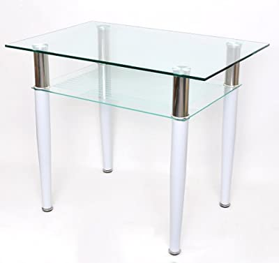 Glass coffee,dining table 60 x 90 cm for the computer with stainless steel and white 10 mm tempered glass new - low-cost UK dining table store.