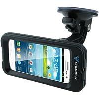 Armor-X Étui avec support à ventouse pour iPhone 5 et Samsung Galaxy S3 avec connecteur pour écouteurs Résistant à l'eau et aux chocs Noir