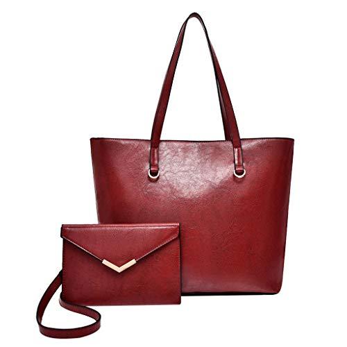 Tohole Damen Vintage Tote Beutel Schultertasche Handtasche Mode Messenger Bag Shopper Tasche Henkeltasche FüR Handbag (rot,2PC)
