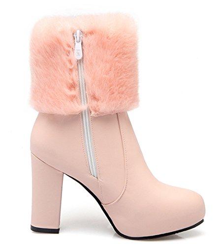 YE Damen Spitze Blockabsatz High Heels Stiefeletten mit Fell 10cm Absatz Winter Warm Gefütterte wasserdichte Schneestiefel Rosa