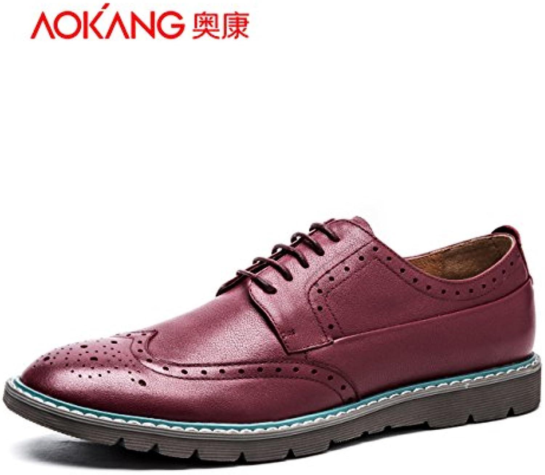 Generación de luz Aemember tallado zapatos de hombre zapatos Zapatos casual de negocios ,44, Borgoña 165011002