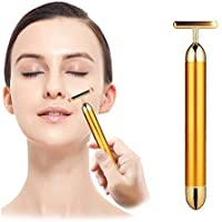 Horlite 24K Gold Energy Beauty Bar Vibration Facial Massage Roller Waterproof Face Skin Care T-Shaped Anti Wrinkle…