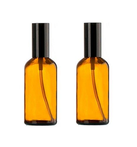 1.7 Unze Creme (2PCS 50ml / 1,7 unze Glas Parfüm Spray Fläschchen Flaschen Mit Feinem Nebel Sprayer-Nachfüllbar Ätherisches Öl Kosmetik Make-Up Parfüm Vorratsbehälter Gläser Topf Zerstäuber (Bernstein))