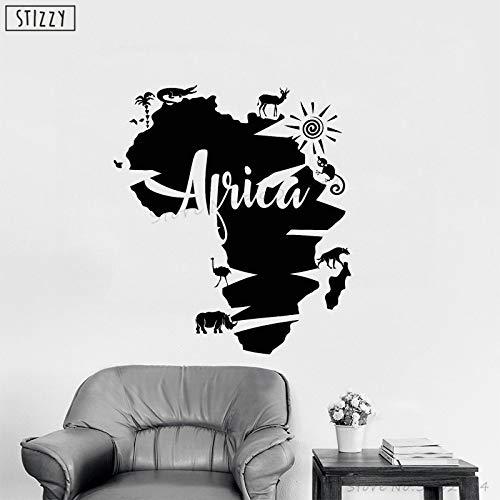 yaoxingfu Wandtattoo Afrika Karte Tier Vinyl Wandaufkleber Kreative Moderne Innen Abnehmbare Wohnkultur Klebstoff Kinderzimmer Kunst Karte Farbe 85x96 cm - 85-kuchen-deckel