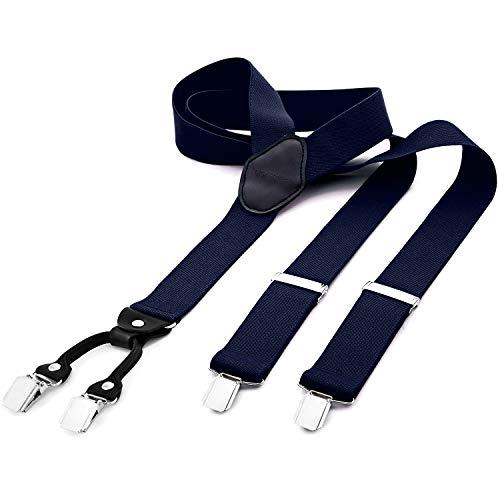 DonDon® Herren Hosenträger breit 3,5 cm - 4 Clips mit Leder in Y-Form - elastisch und längenverstellbar blau