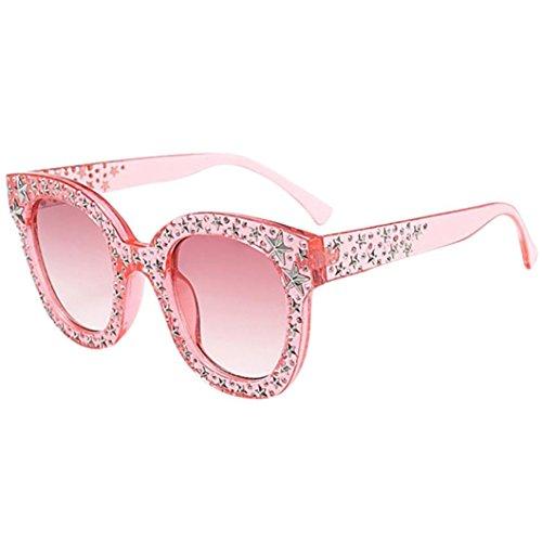 VENMO Künstliche Diamant-Sonnenbrille für Frauen Cat Eye Quadrate Star große Rahmen klassische Sonnenbrille Arbeiten Sie Frauen Katzenaugen Sonnenbrille Klassische Designer Twin Beams Sonnenbrille (D)
