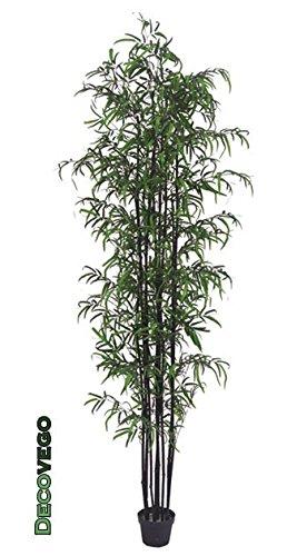 Decovego Bambus Groß Kunstbaum Kunstpflanze Künstliche Pflanze Schwarze Stämme mit Echtholz 238cm