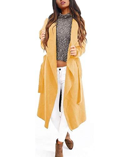 Belted Print Trench Coat (CuteRose Womens Long Sleeve Fall Winter Strappy Belted Trench Coat Jacket Yellow M)
