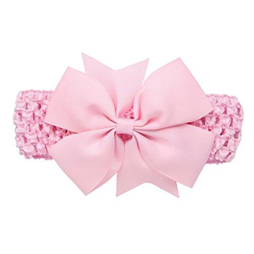 erthome Baby Haarnadel, Kinder elastisches Blumen Stirnband Haar Mädchen Baby Bowknot Haarband Set 3Pcs (Spitzen-Schleife Rosa)
