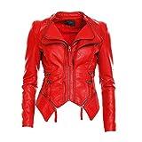 Mayaadi Damen Kunst-Lederjacke im Biker-Stil Moderne Übergangsjacke in schöner Leder-Optik WS-901 (M, Rot)