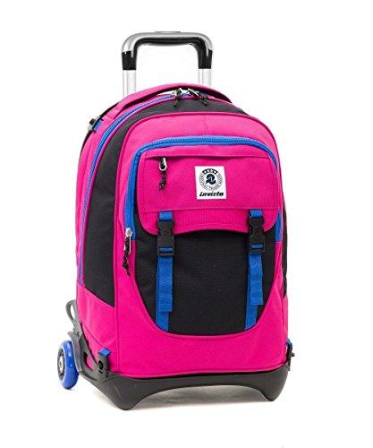 Trolley invicta - plug - rosa nero blu - zaino sganciabile e lavabile - scuola e viaggio 32 lt
