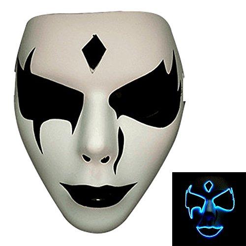 Bonamana Licht leuchten Maske Kostüm EL LED Draht Halloween Maske Tod Grimasse Masken Masquerade (Blau)