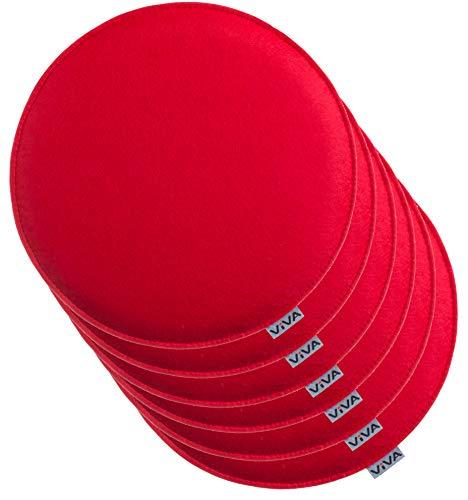 sen Filz Rund Stuhlkissen Sitzauflage Gepolstert - Ø 35 cm - 6er Vorteilspack - Rot ()