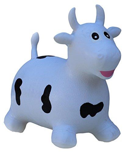 Happy giampy hg201 - mucca gonfiabile cavalcabile per bambini, colore bianco