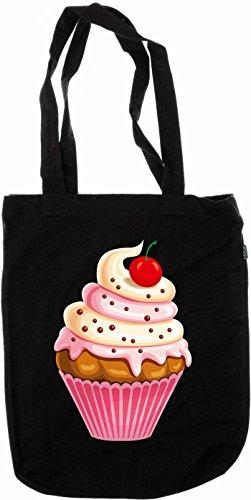 Galleria fotografica My-tagshirt–Organic Fashion Bag–Cup Cake Twist Rasberry Vanilla–100% bio–Commercio Equo E Solidale–Nero