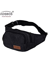 Buyworld Men Vintage Canvas Waist Pack Fashion Durable Money Belt Bags Women Solid Leisure Leg Bag Pouch
