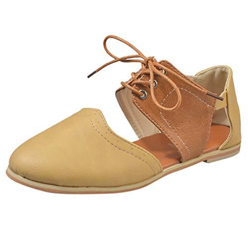 Yvelands Damen Runde Kappe Rom Schuhe Hit Farbe Hohl Lace-Up Flache Einzelne Schuhe Sandalen(CN-42,Braun)