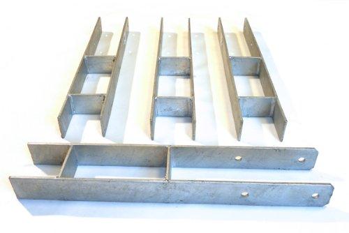 4 Stück H-Anker 91 Höhe: 600 mm 6 mm stark Pfostenträger für Pfosten 9x9