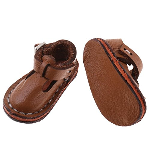 ELECTROPRIME 12 inch Dolls Casual Shoes Brown Anke Belt Shoes for 1/6 Blythe Doll