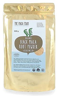 Gelatinized Black Maca Root Powder - 500 g - Fresh Harvest From Peru, Certified Organic, Fair Trade, Gmo-Free, Gluten Free, And Vegan by The Maca Team, LLC
