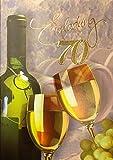 Einladungskarten 70. Geburtstag Frau Mann mit Innentext Motiv Weißwein 10 Klappkarten DIN A6 im Hochformat mit weißen Umschlägen im Set Geburtstagskarten Einladung 70 Geburtstag Mann Frau K174