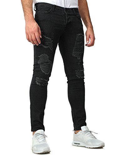 Baxmen Herren Jeans Bronx Slim Fit Destroyed Look Basic Einfarbig Five Pocket Style Schwarz