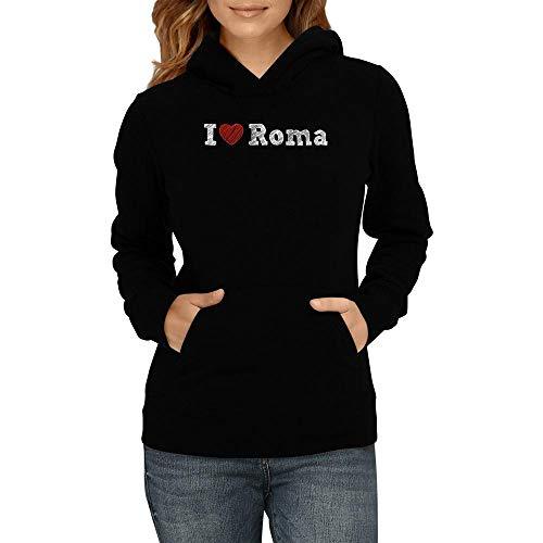 Idakoos I Love Roma Sketch Style Damen Kapuzenpullover M (Roma Love Pullover I)