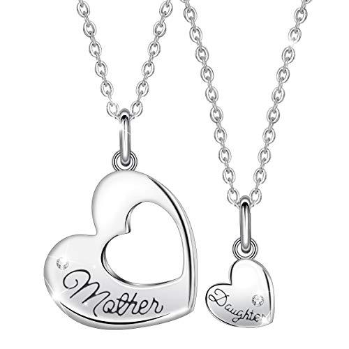 EUDORA Mutter Tochter Kette Charms Herz Mama Kette, S925 Sterling Silber Schmuck Halsketten Herz für Mama Tochter, geburtstagsgeschenk für Mama Tochter - Lehrer Armband Silber