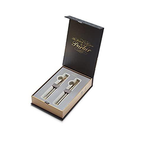 PARKER IM British Collection Fountain and Ballpoint Pen Gift Box Set, Brushed Metal GT (1978325)