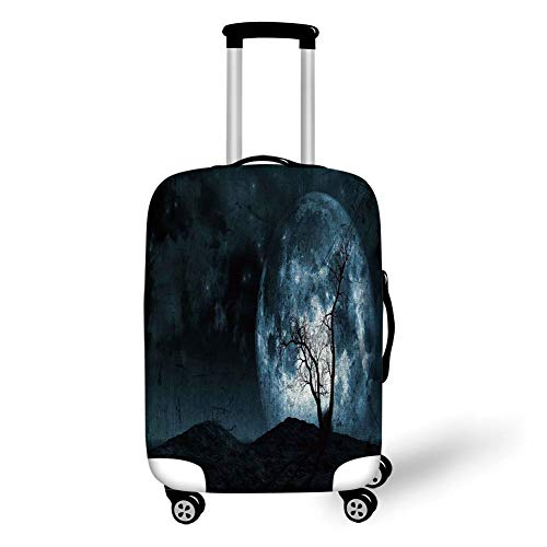 Travel Luggage Cover Suitcase Protector,Fantasy,Night Moon Sky with Tree Silhouette Gothic Halloween Colors Scary Artsy Background,Slate Blue,for Travel M