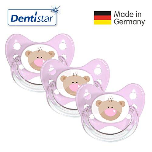 Dentistar® Silikon Schnuller 3er Set - Beruhigungssauger, Nuckel Größe 1 von Geburt an, 0-6 Monate - zahnfreundlich & kiefergerecht | Rosa Bär