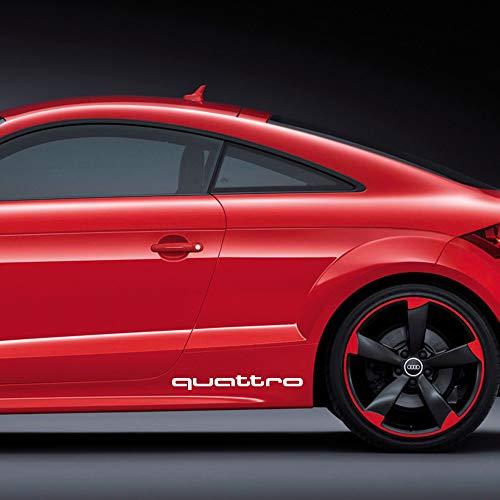 Autodomy Confezione Adesivi Audi Quattro 2 Pezzi per Auto (Nero)